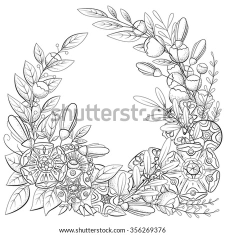 Doodle pattern for coloring book. Vector floral image in black and white. The file has two layers. One layer is a contour line. The second layer contains the shadows in the form of small dots.