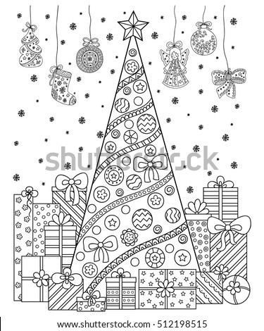 Doodle Pattern Black White Christmas Decorations Stock