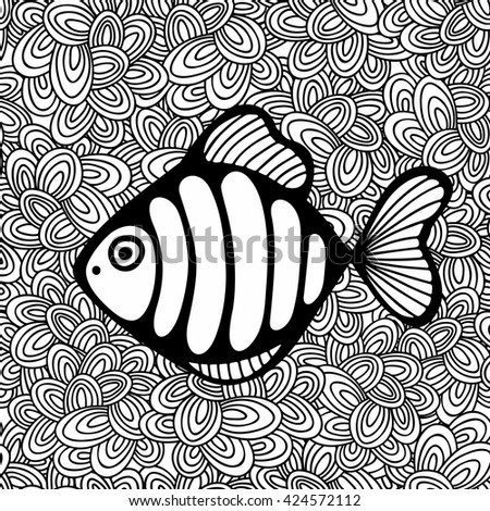 Doodle pattern with black and white fish image for coloring. Vector illustration. - stock vector