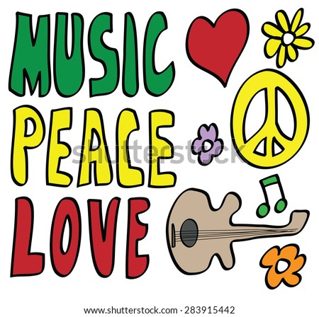 doodle Peace, Love and Music, vector icon - stock vector