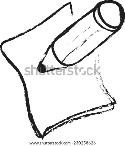 doodle pencil, paper, notice - stock vector
