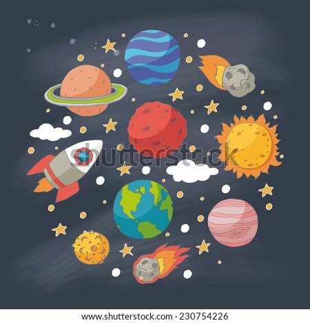Doodle planets and the sun on blackboard. EPS 10. Transparency. No gradients. - stock vector
