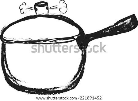 doodle pressure cooking pot vector - stock vector
