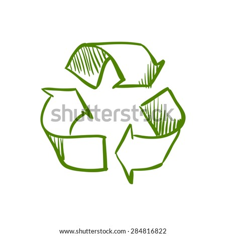 Doodle Recycle Symbol, excellent vector illustration, EPS 10 - stock vector