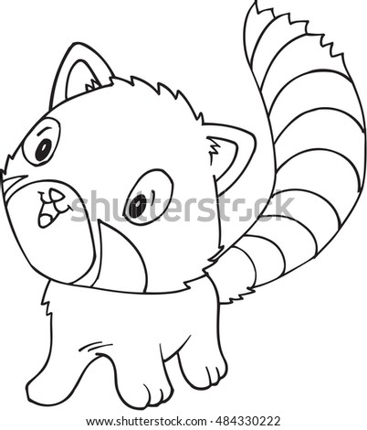 Doodle Red Panda Vector Illustration Art