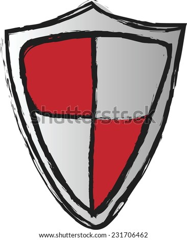 doodle red shield, vector - stock vector