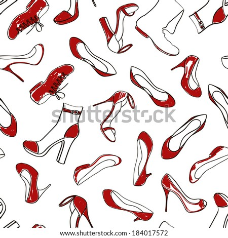 Doodle red white seamless pattern of women footwear - stock vector