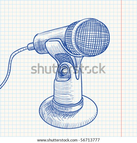 Doodle retro microphone - stock vector