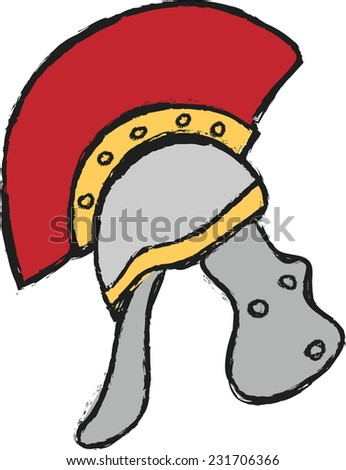 doodle roman helmet, vector - stock vector