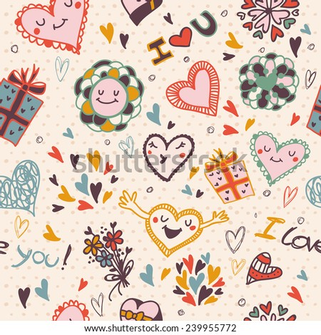 Doodle romantic seamless pattern with love, hearts - stock vector