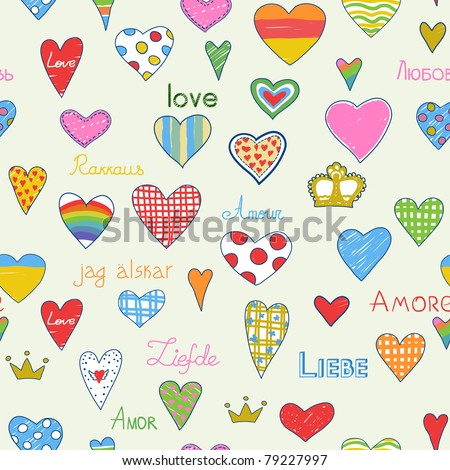 Doodle?s hearts and love pattern. - stock vector