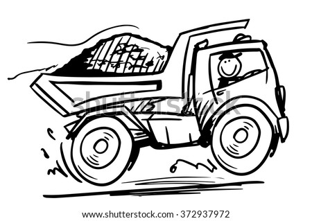 Doodle sand truck. Hand drawn sketch black and white vector illustration - stock vector