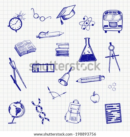 Doodle school and education set