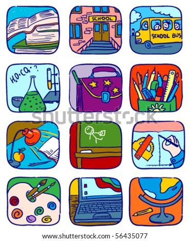 Doodle school icons set, vector illustration - stock vector