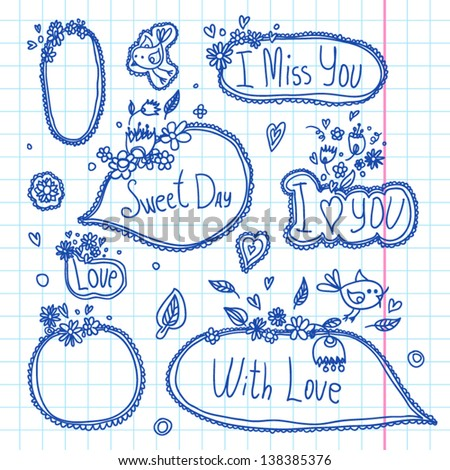 Doodle scrapbook elements set of speech and thought blobs - stock vector