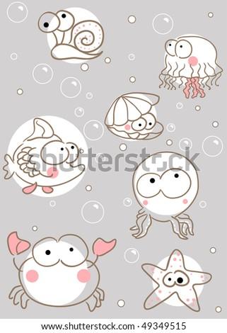 doodle sea creatures - stock vector