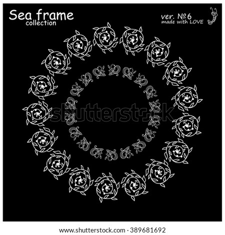 Doodle sea frames collection. Decorative nature vector set of elements for design: seaweed, coral, leaf, shell. Black and white. Illustration of simple  mandala, or lace  - stock vector