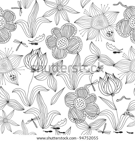 doodle seamless floral background - stock vector