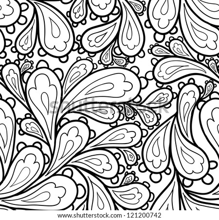 Doodle seamless paisley pattern. - stock vector