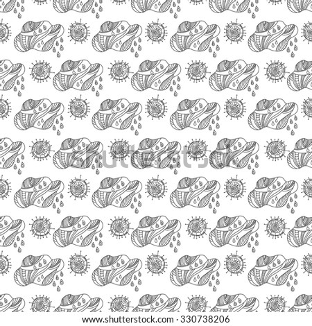Doodle seamless pattern of clouds and sun. Black and white graphics for design background, wallpaper, packaging, fabrics, textiles.
