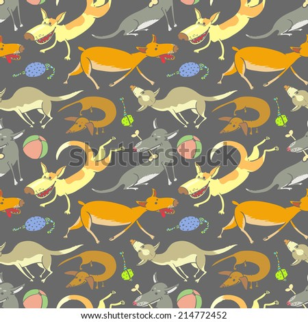 Doodle seamless pattern with dogs