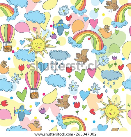 Doodle seamless patternan - Sky, sun, rainbow and clouds, plane and hot air balloons - stock vector