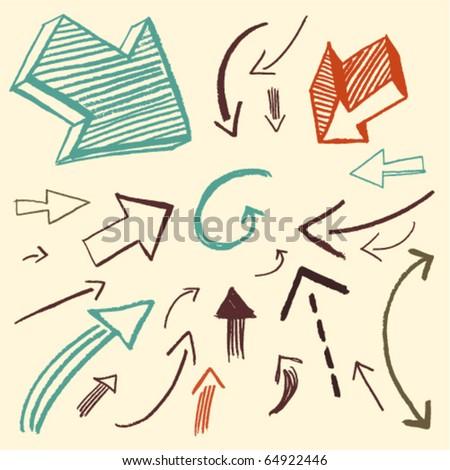 doodle set - arrows - stock vector