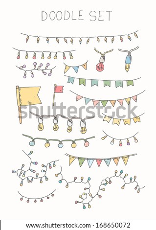 Doodle set - bunting and garlands - stock vector