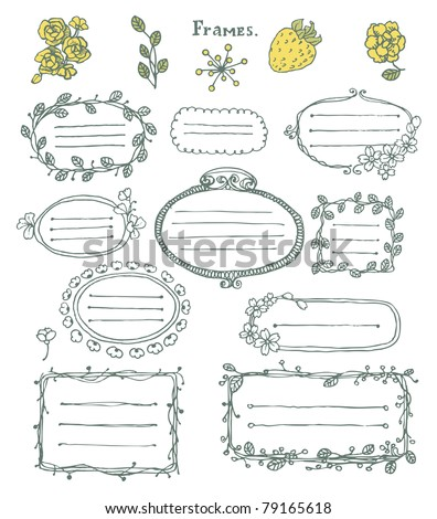 Doodle set: collection of  hand drawn cartoon frames and floral elements. - stock vector