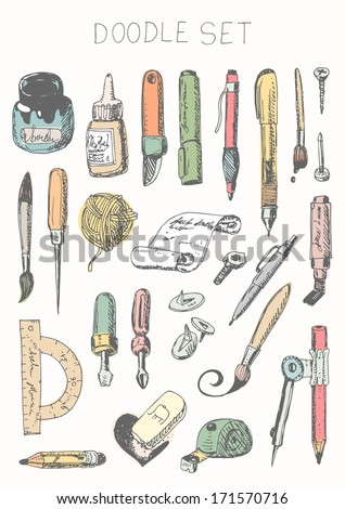 Doodle set - drawing and painting tools - stock vector