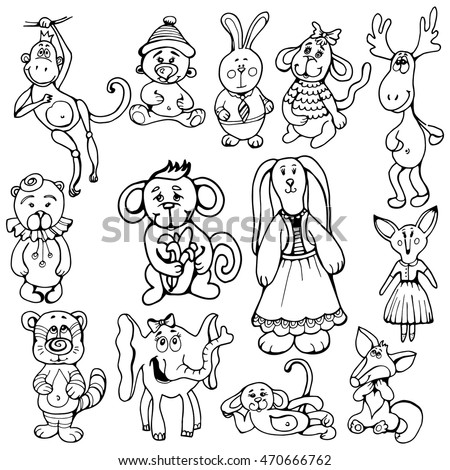 doodle set funny animals, children's toys. black and white drawing by hand. monkey, rabbit, bear, elephant, deer, fox, cat. animals with character