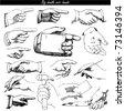 doodle set - hands - stock vector