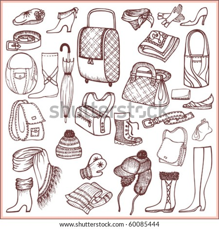 Doodle set of accessories and clothes subjects - stock vector