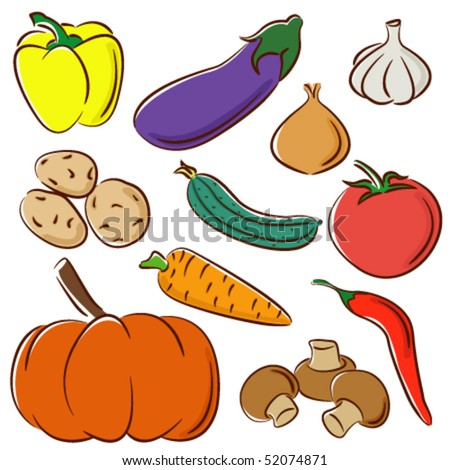 Doodle set of different vegetables isolated on white background - stock vector