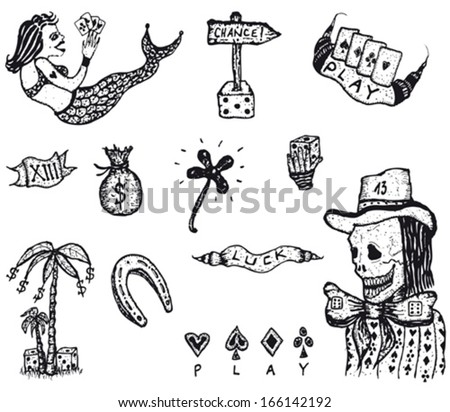 Doodle Set Of Gambling And Luck/ Illustration of a set of doodled hand drawn gambling and luckiness icons elements - stock vector