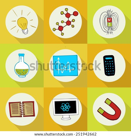 Doodle set of icons profession (Science) - stock vector