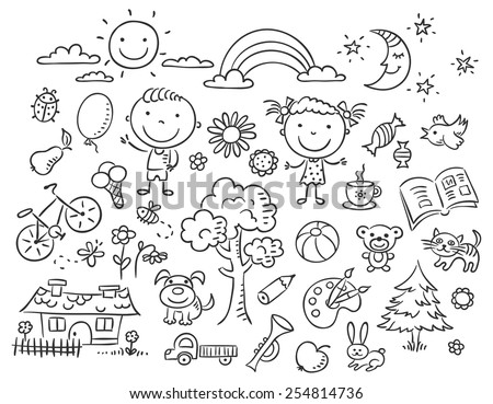 Doodle set of objects from a child's life, black and white outline - stock vector