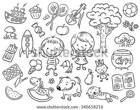 Doodle set of objects from a child's life including pets, toys, food, plants and things for sport and creative activities - stock vector