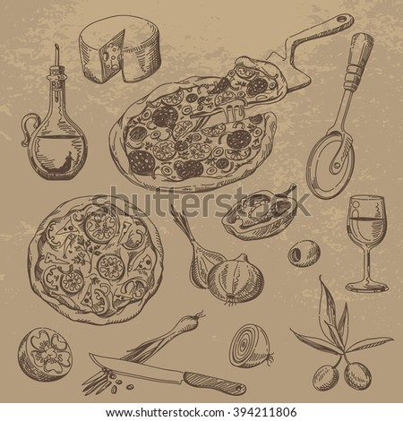 Doodle Set of Pizza, Ingredients and Dishes