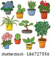 Doodle set of pot plants and flowers  - stock