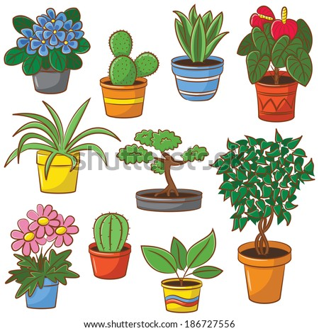 Doodle set of pot plants and flowers