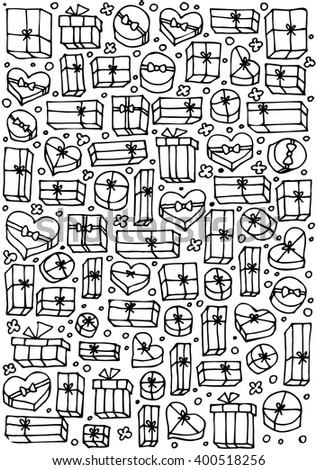 Doodle set of presents. Cute collection of cartoon gift boxes for Birthday. Vector Illustration