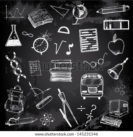 Doodle set of school and education elements - stock vector