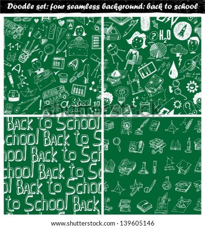 Doodle set - seamless backgrounds - back to school - stock vector