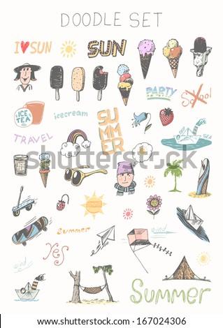 Doodle set - summer - stock vector