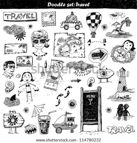 doodle set - travel. Hand drawn sketch illustration isolated on white background - stock vector