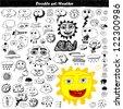 Doodle set - weather - stock vector