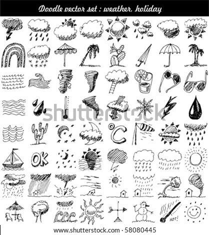 doodle set : weather element vector