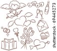 Doodle set with Valentine's Day icons - stock vector