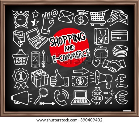Doodle Shopping and E-commerce icons set. Chalk board effect drawing. Freehand drawn graphic elements - shopping bag, cart, coins, gift box, emblem, thumbs up, alarm clock, laptop. Vector illustration - stock vector